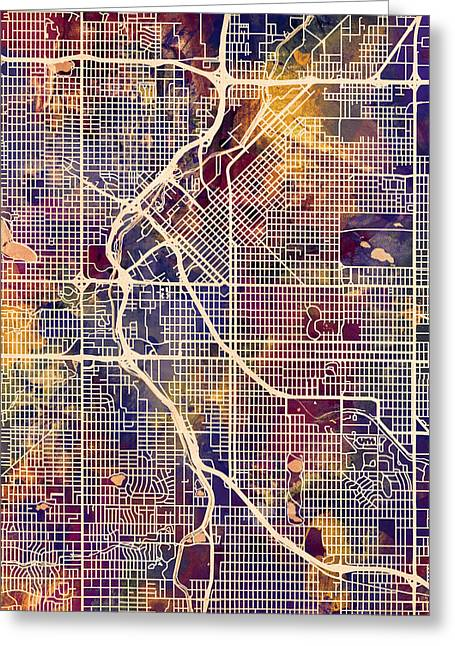 Streets Digital Greeting Cards - Denver Colorado Street Map Greeting Card by Michael Tompsett