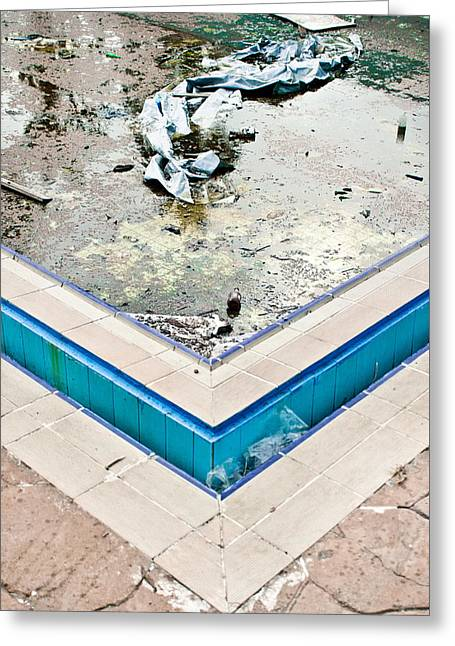 Alga Greeting Cards - Derelict swimming pool Greeting Card by Tom Gowanlock