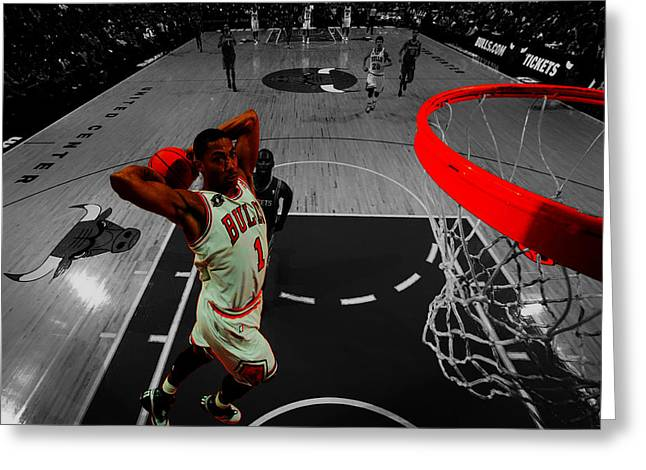 Jordan Mixed Media Greeting Cards - Derrick Rose Taking Flight Greeting Card by Brian Reaves