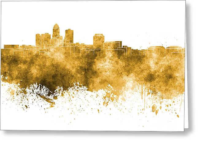 Des Moines Greeting Cards - Des Moines skyline in orange watercolor on white background Greeting Card by Pablo Romero