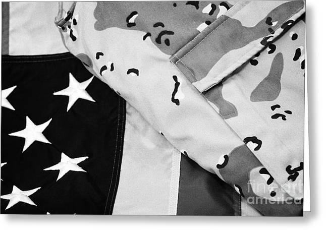 Patterned Greeting Cards - Desert Battle Dress Uniform From The Persian Gulf War On United States Of America Flag Greeting Card by Joe Fox