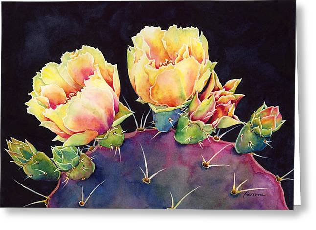 Cactus Flower Greeting Cards - Desert Bloom 2 Greeting Card by Hailey E Herrera