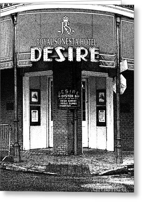 Travelpixpro Greeting Cards - Desire Corner Bourbon Street French Quarter New Orleans Black and White Fresco Digital Art Greeting Card by Shawn O