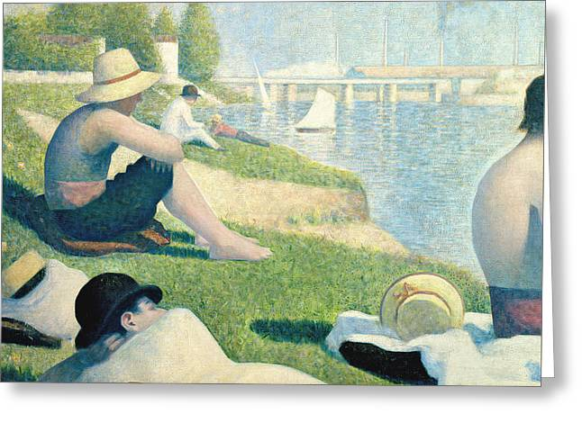 Lazy Dogs Greeting Cards - Detail from Bathers at Asnieres Greeting Card by Georges Pierre Seurat