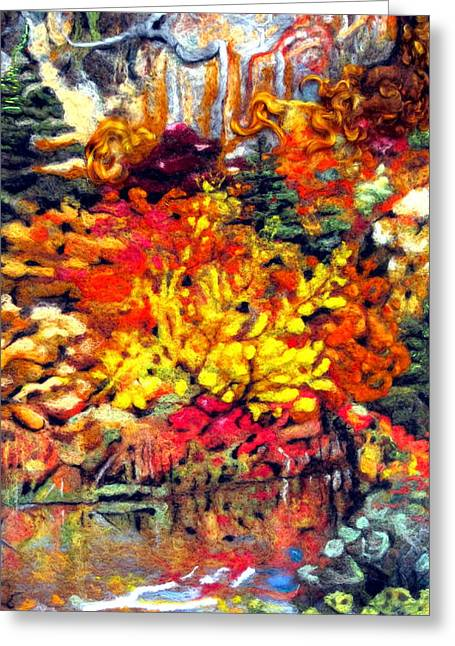 Roots Tapestries - Textiles Greeting Cards - Detail of Fall Greeting Card by Kimberly Simon
