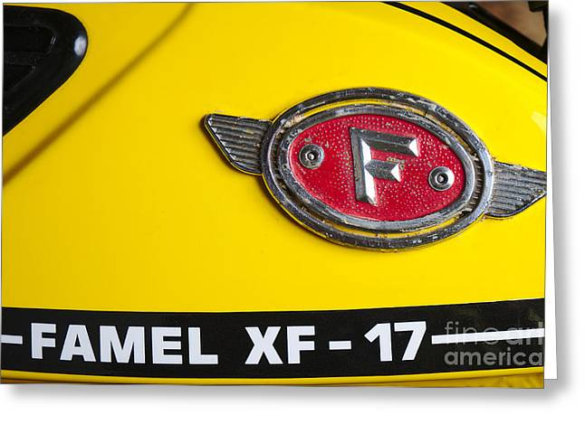 Component Greeting Cards - Classic Zundapp bike XF-17 gas tank logo detail Greeting Card by Angelo DeVal