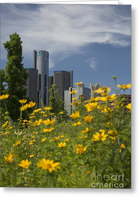 Renaissance Center Greeting Cards - Detroit Greeting Card by Jim West