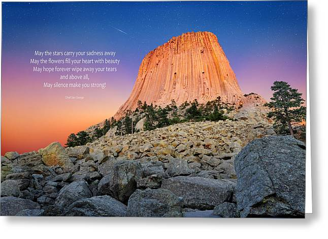 Monolith Greeting Cards - Devils Tower Greeting Card by Edwin Verin
