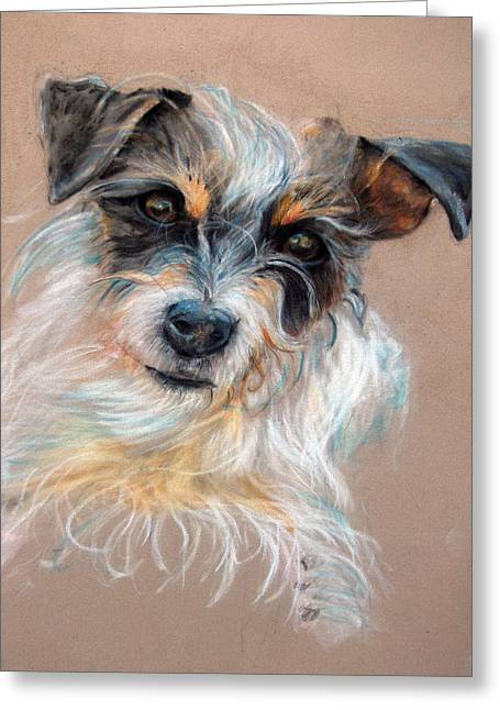 Puppies Pastels Greeting Cards - Dextor Greeting Card by Tanya Patey