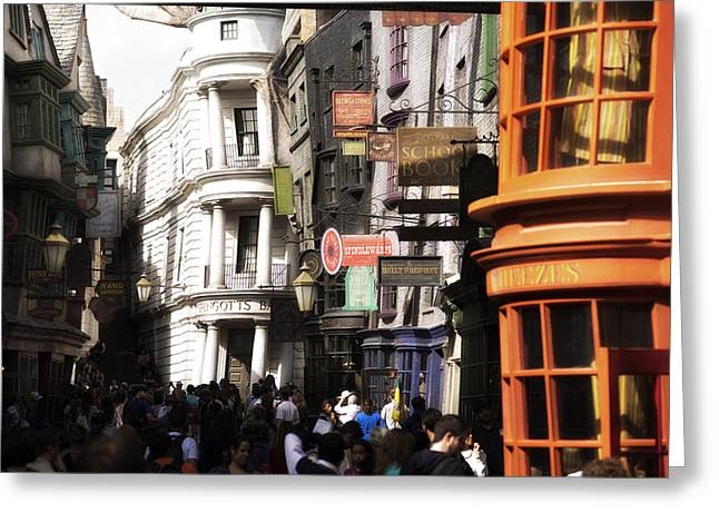 Harry Potter Greeting Cards - Diagon Alley Greeting Card by Noah Bryant