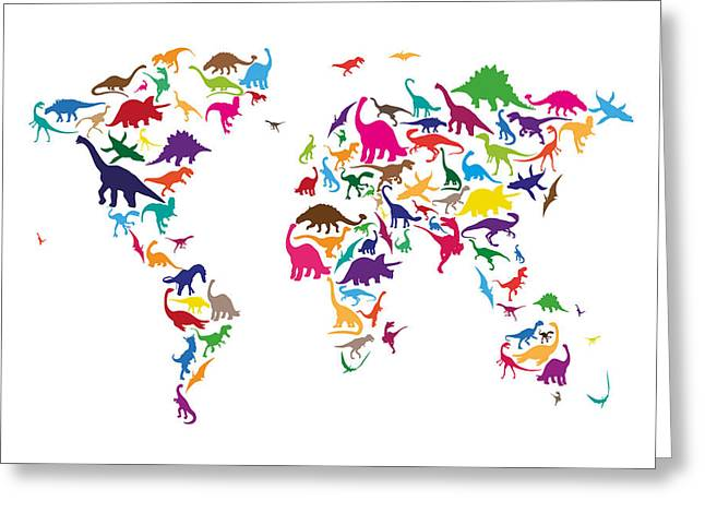 Map Of The World Greeting Cards - Dinosaur Map of the World Map Greeting Card by Michael Tompsett