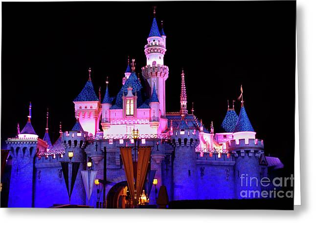 Decorate Greeting Cards - Disneyland Castle at Night Greeting Card by Mariola Bitner