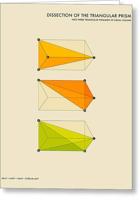 Geometric Art Greeting Cards - Dissection Of The Triangular Prism Into 3 Pyramids Of Equal Volume Greeting Card by Jazzberry Blue