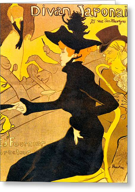 Woman In A Dress Greeting Cards - Divan Japonais Greeting Card by Toulouse Lautrec