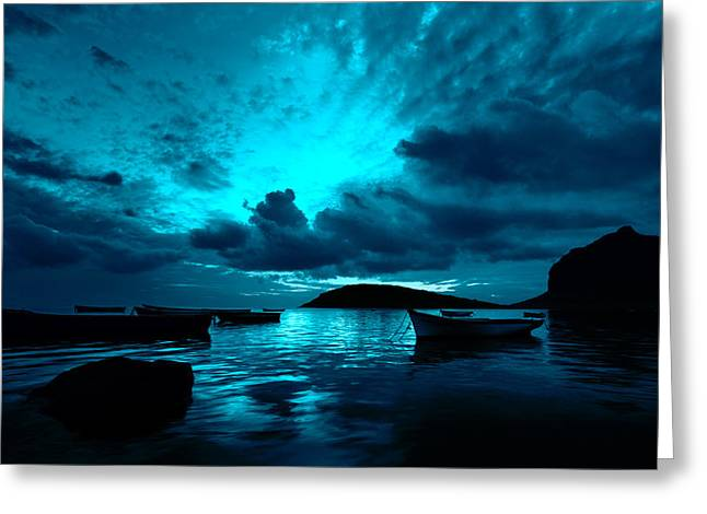 Motor Boats Greeting Cards - Docked at Dusk Greeting Card by Julian Cook
