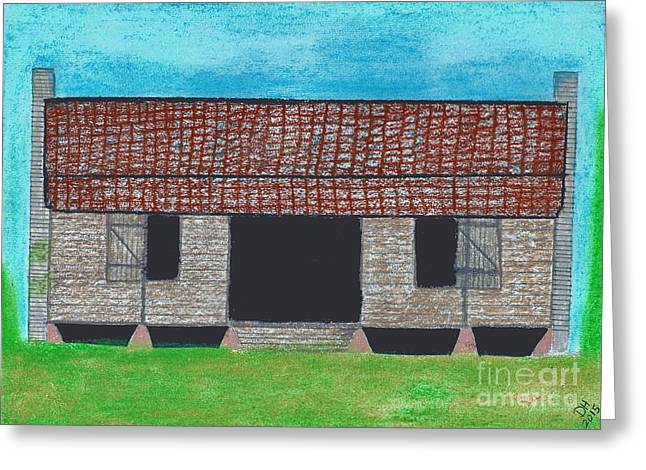 Pioneer Homes Drawings Greeting Cards - Dogtrot Cracker Home  Greeting Card by D Hackett