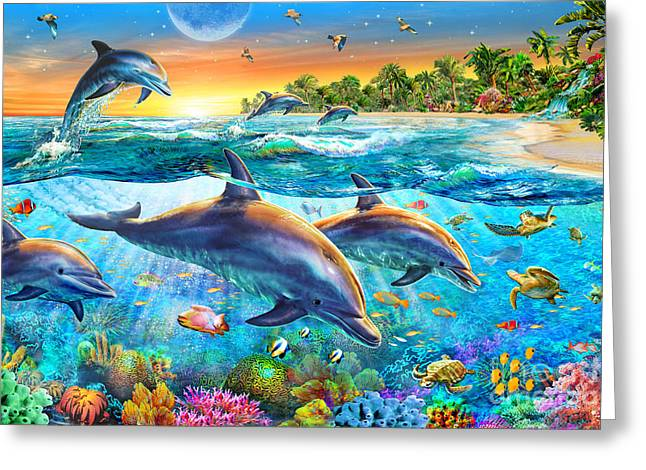 Sea Animals Greeting Cards - Dolphin Bay Greeting Card by Adrian Chesterman