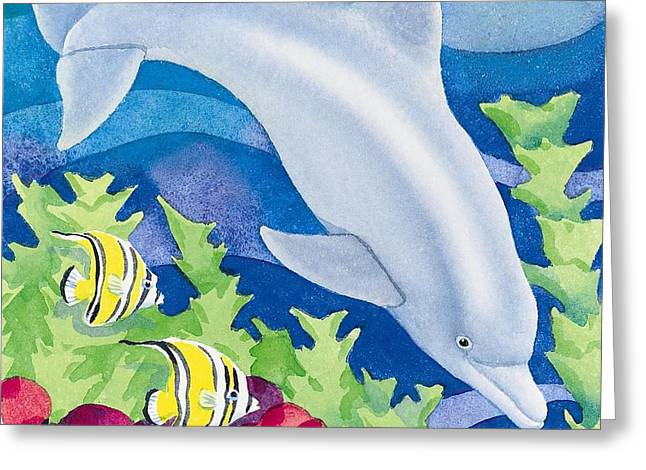 Sea Animals Paintings Greeting Cards - Dolphin Friend Greeting Card by Paul Brent