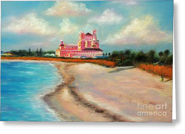 Work Pastels Greeting Cards - Don Cesar Hotel Greeting Card by Gabriela Valencia