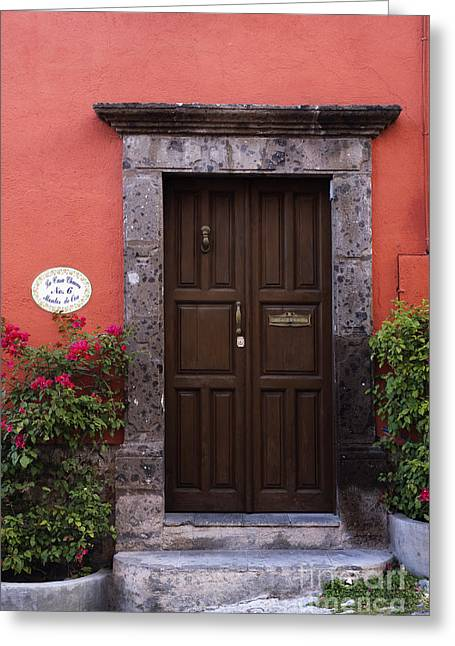 San Miguel De Allende Greeting Cards - Doorway Greeting Card by Jeremy Woodhouse