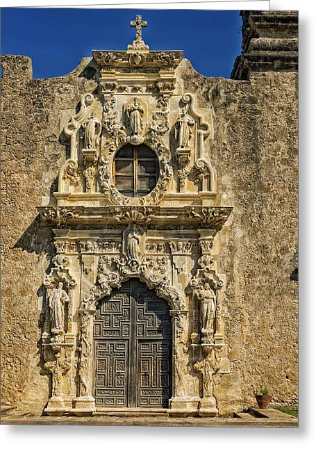 Miguel Art Greeting Cards - Doorway of Mission San Jose y San Miguel - San Antonio Greeting Card by Mountain Dreams