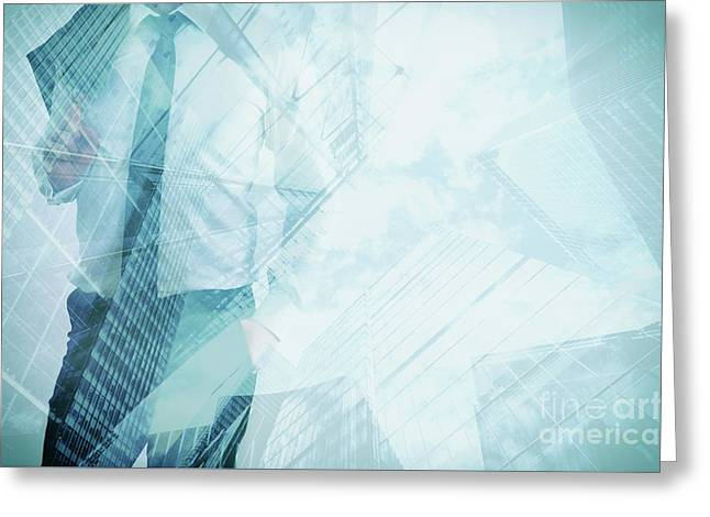 Double Exposure Of Businessman And Modern Skyscrapers. Business Leader, Career Concepts Greeting Card by Michal Bednarek