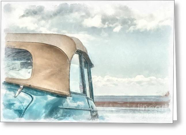 Oldtimers Greeting Cards - Down at the Shore Greeting Card by Edward Fielding