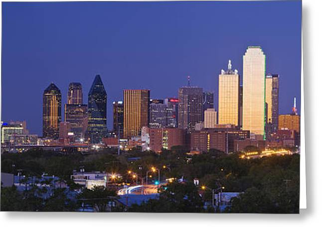 Sky High Greeting Cards - Downtown Dallas Skyline at Dusk Greeting Card by Jeremy Woodhouse