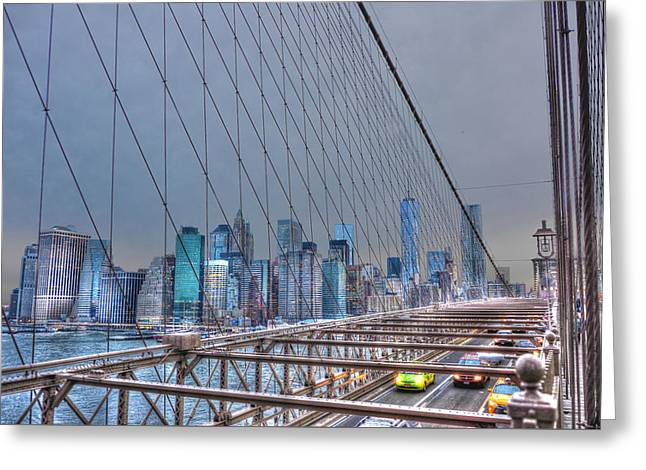Brooklyn Bridge Park Greeting Cards - Downtown Manhattan from the Brooklyn Bridge Greeting Card by Randy Aveille