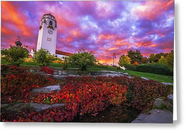 Dramatic Autumn Sunrise At Boise Depot In Boise Idaho Greeting Card by Vishwanath Bhat