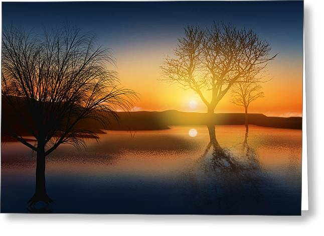Sunset Abstract Photographs Greeting Cards - Dramatic Landscape Greeting Card by Setsiri Silapasuwanchai