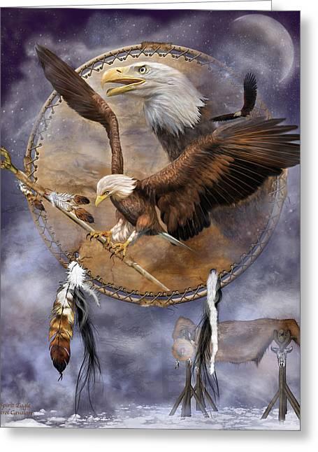 Birds Of Dreams Greeting Cards - Dream Catcher - Spirit Eagle 2 Greeting Card by Carol Cavalaris