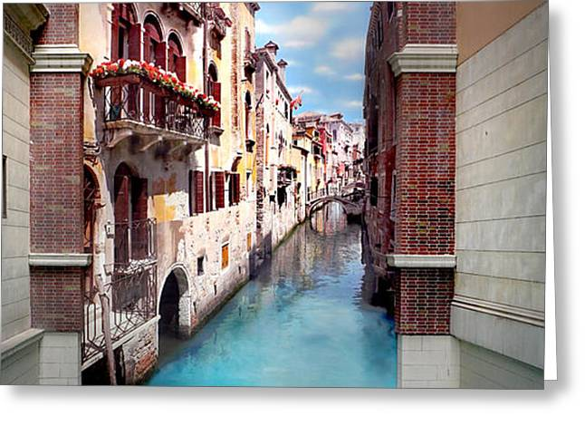 Print Greeting Cards - Dreaming Of Venice Panorama Greeting Card by Az Jackson