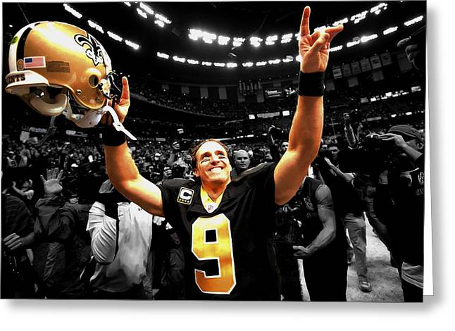 Drew Brees Greeting Card by Brian Reaves