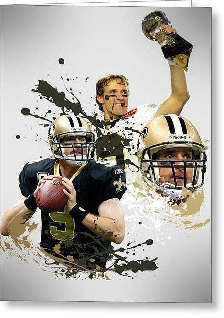 Team Greeting Cards - Drew Brees Saints Greeting Card by Joe Hamilton