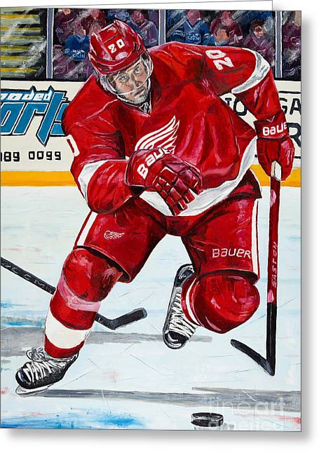 Ice-skating Greeting Cards - Drew Miller Red Wings Greeting Card by Colin Fisher