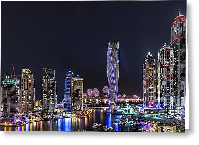 Firework Greeting Cards - Dubai Marina Greeting Card by Vinaya Mohan