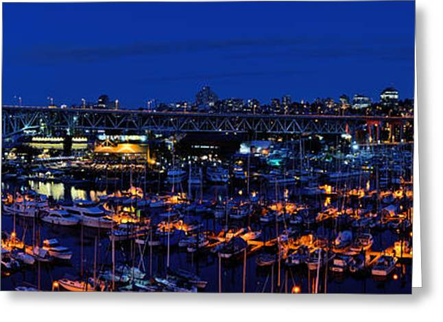 Vancouver Skyline Panorama Greeting Cards - Dusk At False Creek  Greeting Card by Terry Elniski