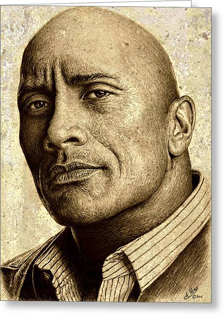 Dwayne The Rock Johnson Greeting Card by Andrew Read