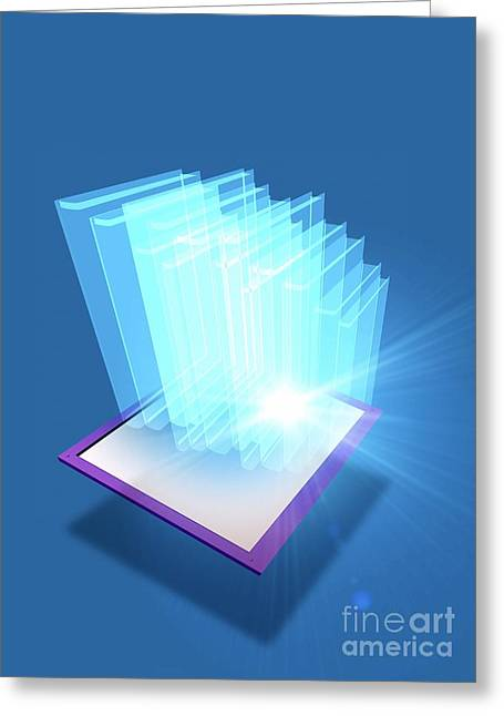 Tablets Greeting Cards - E-books, Conceptual Artwork Greeting Card by Victor Habbick Visions