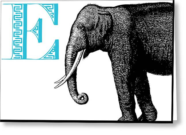 E Elephant Greeting Card by Thomas Paul