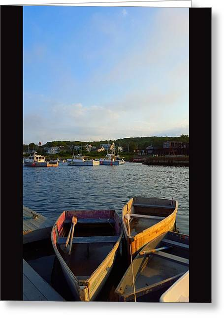 Boats At Dock Greeting Cards - Early Evening At The Cove I Greeting Card by Harriet Harding