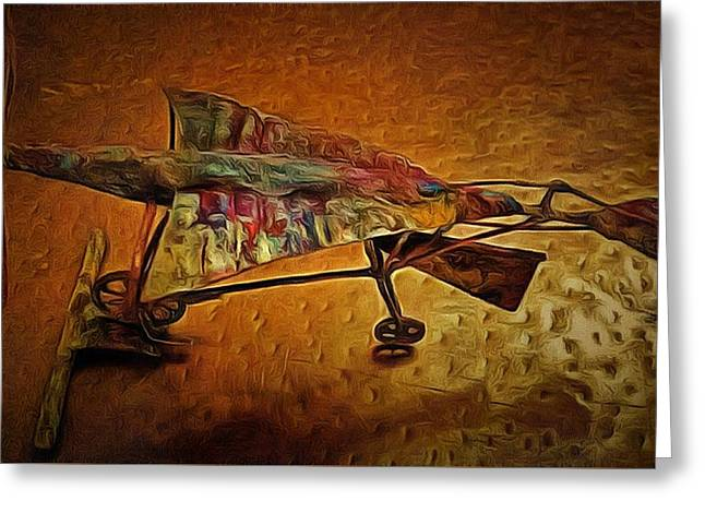Air Sculptures Greeting Cards - Early Flying Machine Greeting Card by Mario Carta