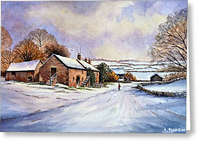 Snow Scene Mixed Media Greeting Cards - Early Morning Snow Greeting Card by Andrew Read