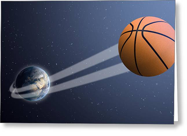 Basketballs Greeting Cards - Earth With Ball Swoosh In Space Greeting Card by Allan Swart