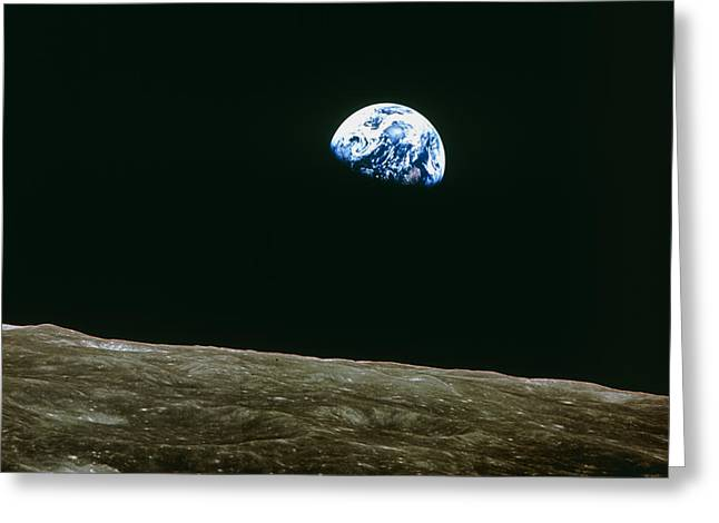 21st Greeting Cards - Earthrise Over Moon, Apollo 8 Greeting Card by Nasa