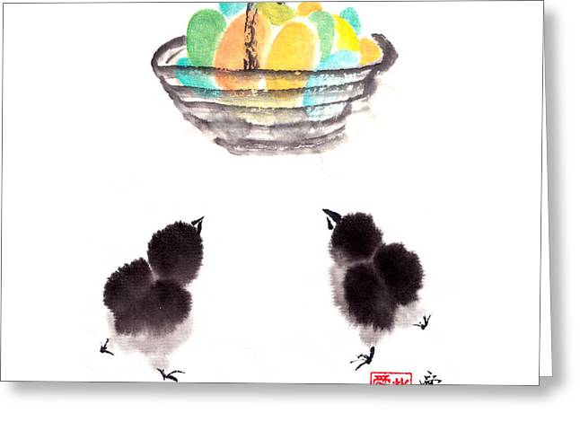 Sumi Greeting Cards - Easter Chicks Greeting Card by Oiyee  At Oystudio