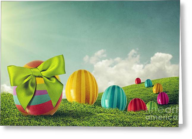 Blue Oval Greeting Cards - Easter Eggs Greeting Card by Carlos Caetano