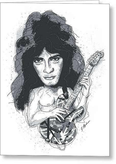 Music Cartoon Greeting Cards - Eddie Van Halen Greeting Card by Gary Bodnar