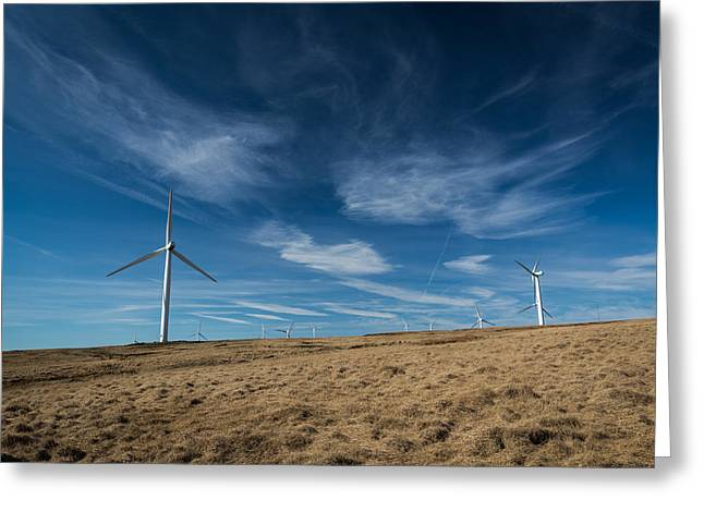 Britain Greeting Cards - Edenfield Wind Turbine Farm. Greeting Card by Daniel Kay